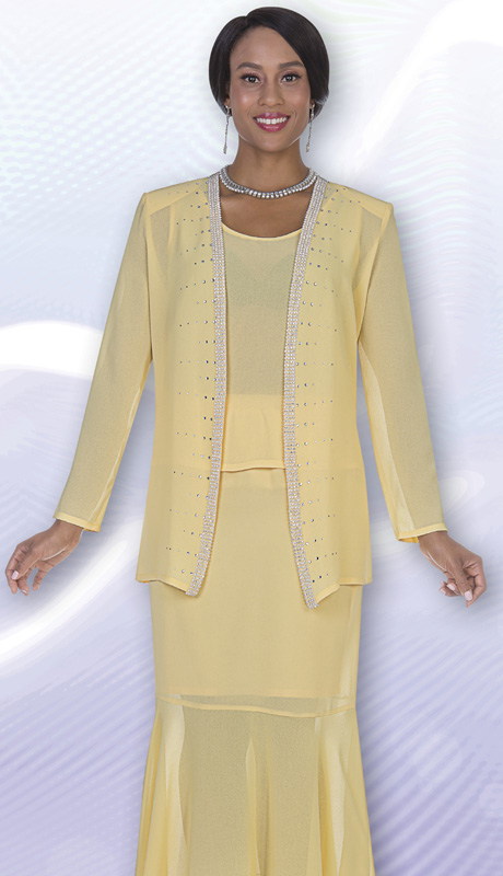 Christie By Aussie Austine 667  ( 3pc Georgette Ladies Suit With Rhinestone Jacket, Cami And Skirt )