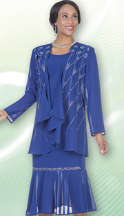 Christie By Aussie Austine 670-BLU ( 3pc Georgette Womens Church Suit With Scallop Shoulder Detail And Rhinestone Diamond Pattern On Jacket With Cami And Skirt )