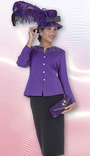 Aussie Ausitine 4660 ( 2pc Peachskin Womens Church Suit With Rhinestone Embellished, Button Front Jacket And Skirt )