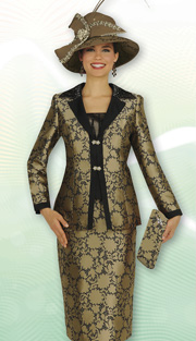 Aussie Austine 4818 ( 3pc Novelty Brocade Ladies Church Suit With Floral Pattern And Rhinestone Detailed Jacket, Skirt And Cami )