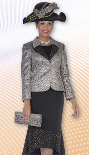 Aussie Austine 4811 ( 2pc Peach Skin With Metallic Brocade Womens Church Suit With Rhinestone Details And High Low Skirt )