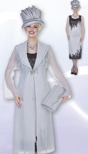 Aussie Austine 4273 ( 2pc Peachskin Womens Church Dress With Sequin Embellishment And Long Organza Jacket )