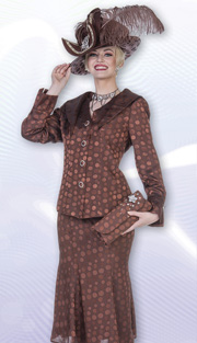 Aussie Austine 4821 ( 2pc Novelty Brocade Womens Church Suit WIth Polka-Dot Pattern Jacket And Skirt )