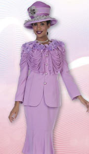 Aussie Austine 4305 ( 2pc Peachskin Womens Church Suit With Flower And Feather Embellishment, Ruched Swag Jacket And Trumpet Skirt )