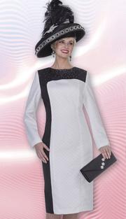 Aussie Austine 4977 ( 1pc Peachskin Womens Church Dress With Color Block And  Rhinestone Details )