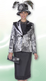 Aussie Austine 4613 ( 3pc Peachskin With Novelty Brocade Womens Church Suit With Asymmetric Accordian Pleated Collar And Marble Pattern Jacket With Skirt )