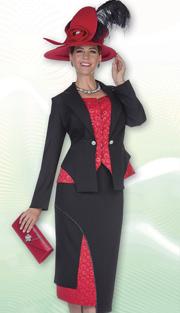 Aussie Austine 4852  ( 2pc PeachSkin Womens Church Suit, Jacket And Skirt With Circle Pattern And Rhinestone Trim )