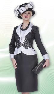 Aussie Austine 4976 ( 2pc Twill Satin Ladies Church Dress With Lace Embellishment On Waist Of jacket And Large Rhinestone Clasp )