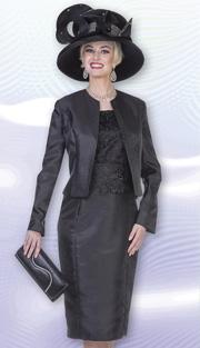 Aussie Austine 4979  ( 2pc Twill Satin Womens Church Dress With Rhinestone Trim Jacket And Floral Lace Bodice )