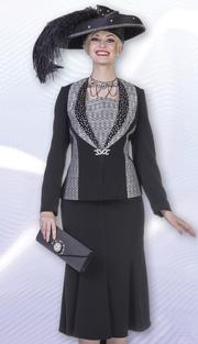 Aussie Austine 4805 ( 2pc Peachskin Womens Church Suit With Rhinestone Detail Jacket And Paneled Skirt )