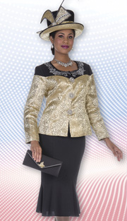 Aussie Austine 4861 ( 2pc Peachskin And Metallic Brocade Womens Church Suit With Rose Pattern, Rhinestone Collar Details Jacket And Trumpet Skirt )