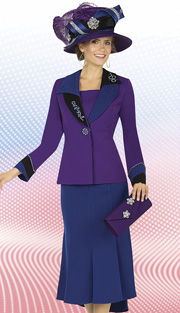 Aussie Austine 4802  ( 2pc Peachskin Womens Church Suit With Asymmetric Collar And Rhinestone Embellished Jacket With Flared Panel Skirt )
