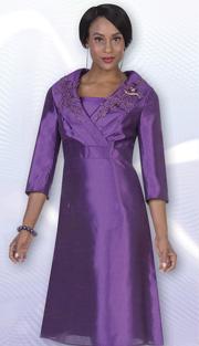 Aussie Austine 1030 ( 1pc Twill Satin Ladies Church Dress With Lace Applique On Collar )