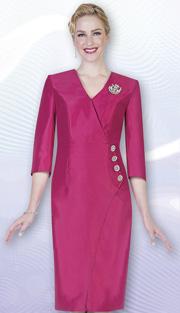 Aussie Austine 1029 ( 1pc Twill Satin Ladies Church Dress With V-Neck And Rhinestone Embelishments )