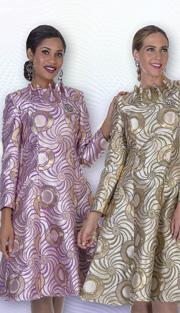 Aussie Austine 1027 ( 1pc Exclusive Brocade Ladies Church Dress With Ruffle Collar And Swirl Pattern )
