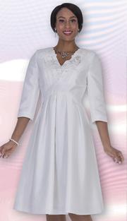 Aussie Austine 1026 ( 1pc Twill Satin Ladies Church Dress With V-Neck, Pleated Front And Flower Lace Applique Around NeckLine )