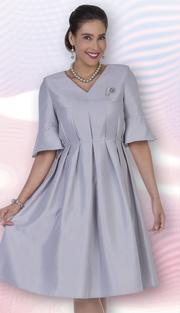Aussie Austine 1031 ( 1pc Twill Satin Ladies Church Dress With Pleats And Flounce Sleeve )