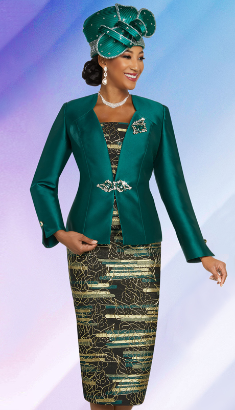Ben Marc 48266-EM  ( 3pc Exclusive Silk First Lady Suit With Solid Color Star Neckline Jacket )