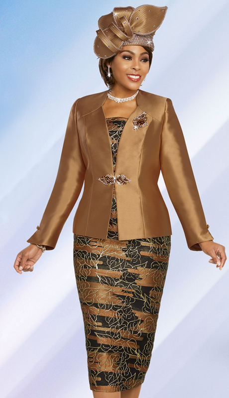 Ben Marc 48266-GO ( 3pc Exclusive Silk First Lady Suit With Solid Color Star Neckline Jacket )