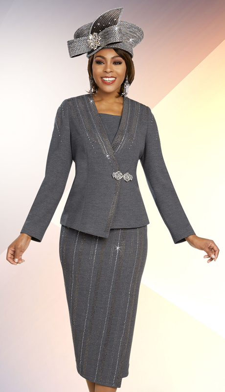 Ben Marc 48255-CH ( 2pc Exclusive Knit Womens Church Suit With Skirt And Asymmetric Jacket )