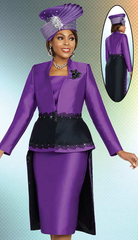 Ben Marc 48263-PB ( 2pc Exclusive Silk Ladies Church Suit With Lace Trimmed Hi-Lo Jacket )