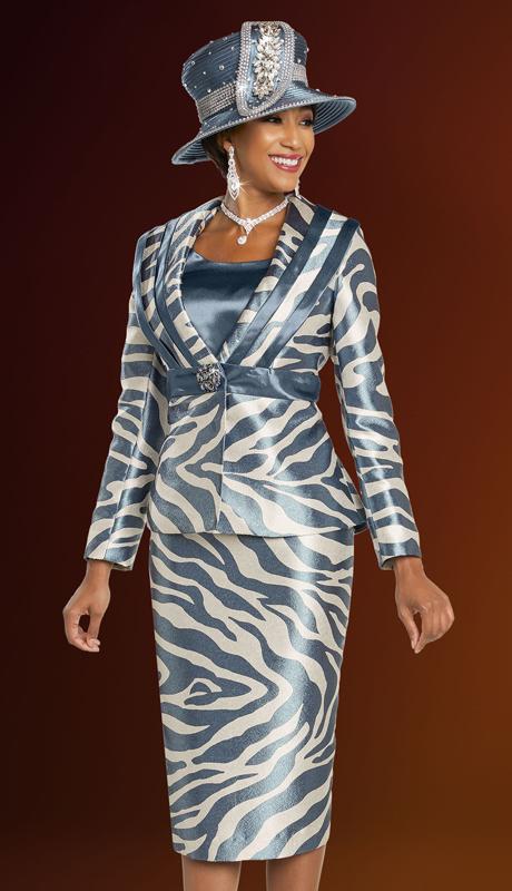Ben Marc 48260-WW ( 3pc Exclusive Brocade Ladies Suit For Church With Animal Print Design )