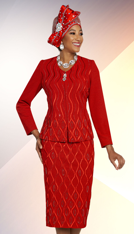 Ben Marc 48259-RE-CO ( 2pc Exclusive Knit First Lady Suit With Embellished Wavy Stripe Pattern Design )