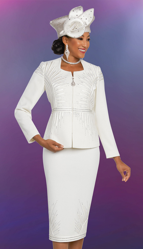 Ben Marc 48258-OW ( 2pc Exclusive Knit Ladies Church Suit With Pointed Square Neckline Jacket )