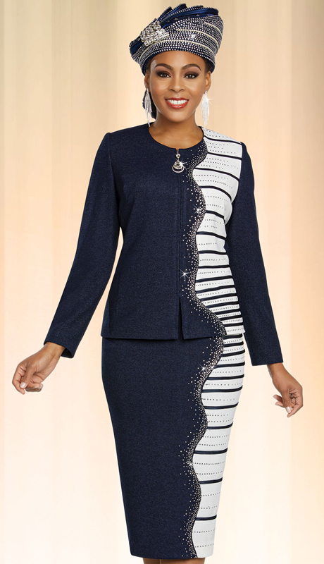 Ben Marc 48257-NO ( 2pc Exclusive Knit Sunday Suit With Embellished Edge Striped Pattern Design )