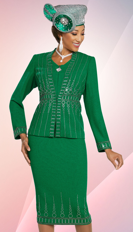 Ben Marc 48253-KG (2pc Exclusive Knit First Lady Suit With Embellished Design )