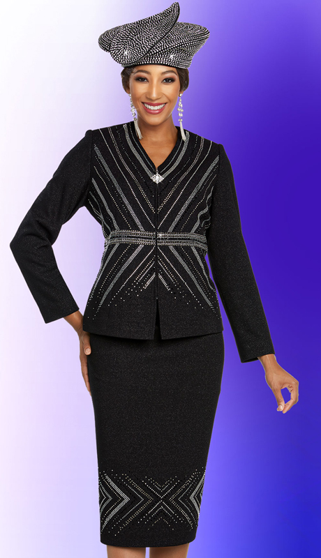 Ben Marc 48252-BK ( 2pc Exclusive Knit Suit For Church With Vee Neckline Jacket )