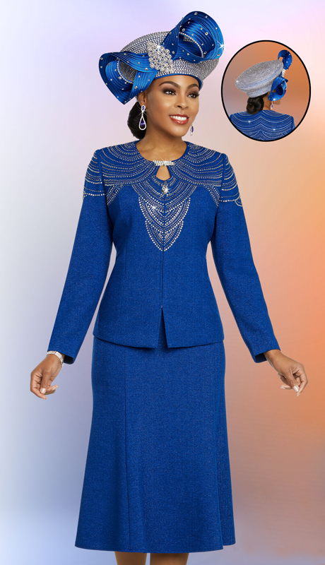 Ben Marc 48251-RO-CO ( 2pc Exclusive Knit Church Suit With Flared Skirt And Embellished