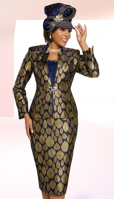 Ben Marc 48268-NG ( 3pc Exclusive Exclusive Brocade Ladies Sunday Suit In Leaf Print Design With Star Neckline Jacket )