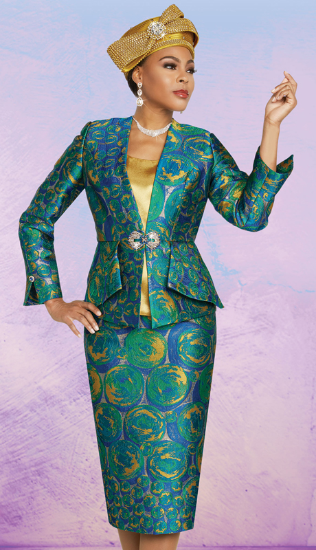 Ben Marc 48267-GP ( 3pc Exclusive Brocade Womens Church Suit With Abstract Print )