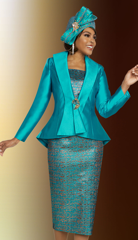 Ben Marc 48278-AG ( 3pc Exclusive Silk Printed Church Suit With Solid Cascading Lapel And Peplum Jacket )