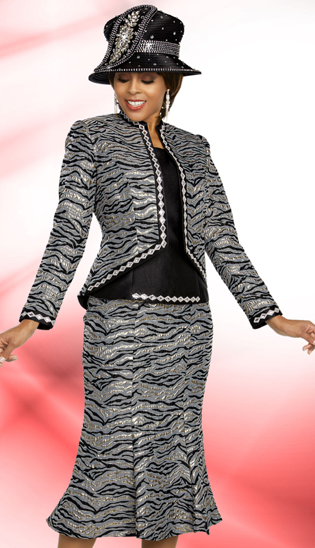 Ben Marc 48276-BS ( 3pc Exclusive Brocade Church Suit With Flared Skirt And Embellished Diamond Shape Trims )