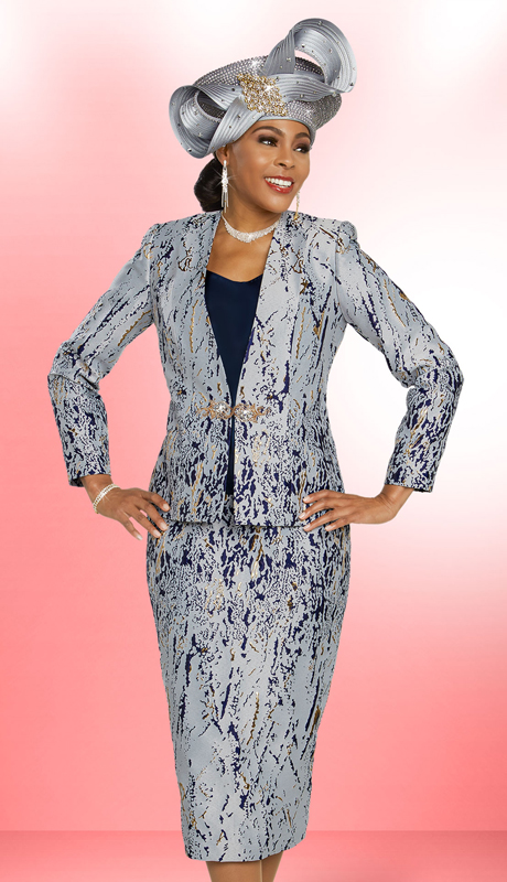 Ben Marc 48275-PN ( 3pc Exclusive Brocade First Ladies Suit With Abstract Print Design )