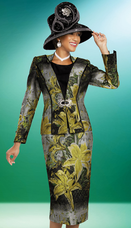 Ben Marc 48271-MU ( 3pc Exclusive Brocade Womens Ladies Church Suit With Floral Print )