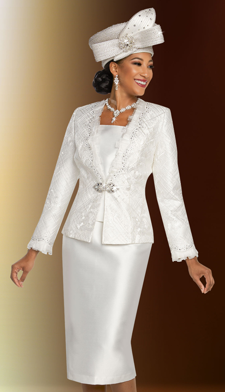 Ben Marc 48270-WH ( 3pc Exclusive Silk First Lady Suit With Lace Design Jacket )
