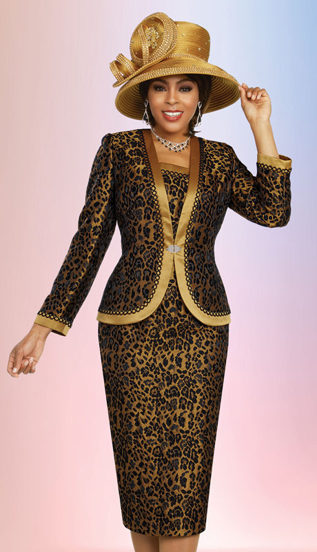 Ben Marc 48269-LP ( 3pc Exclusive Brocade Ladies Sunday Suit In Leopard Print Design With Satin Trimmed Jacket )