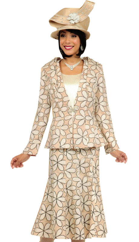Ben Marc 47731 ( 3pc Womens Suit For Church With Retro Floral Pattern )