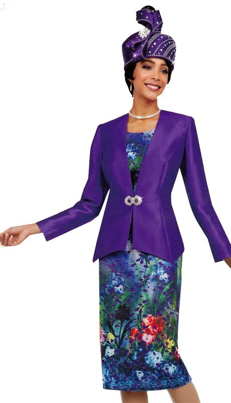 Ben Marc 48087 ( 3pc Novelty Ladies Suit With Solid Jacket And Contrasting Floral Skirt And Top )