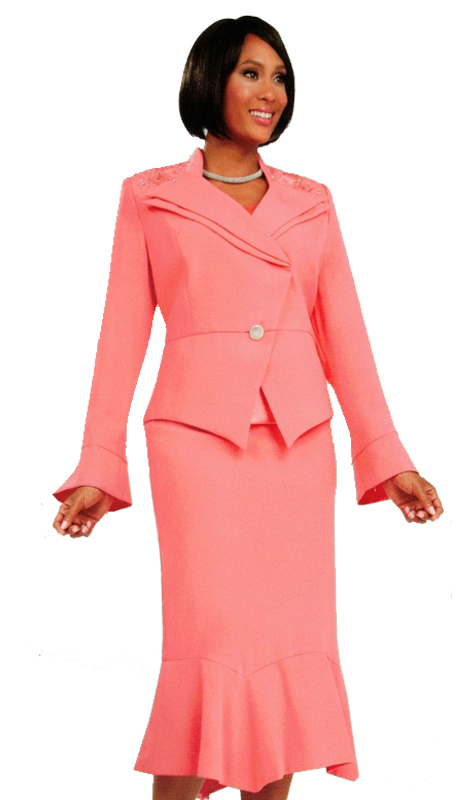 Ben Marc 47705 ( 3pc First Ladies Church Suit With Accented Single Button )