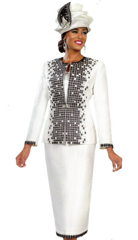 Ben Marc 48023 ( 3pc First Ladies Sunday Suit With Modern Geometric Tiling And Trims )