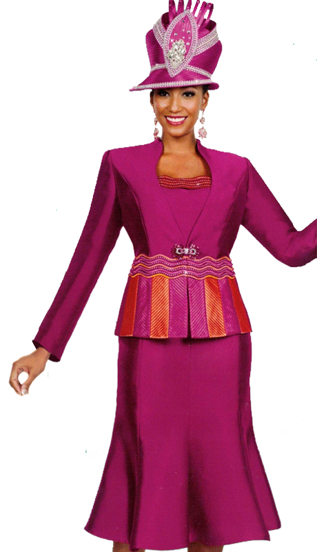 Ben Marc 48045 ( 3pc Womens Suit For Church With Two Tone Jacket )