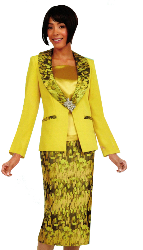 Ben Marc 47527 ( 3pc Ladies Sunday Suit With Dazzling Trim And Skirt )