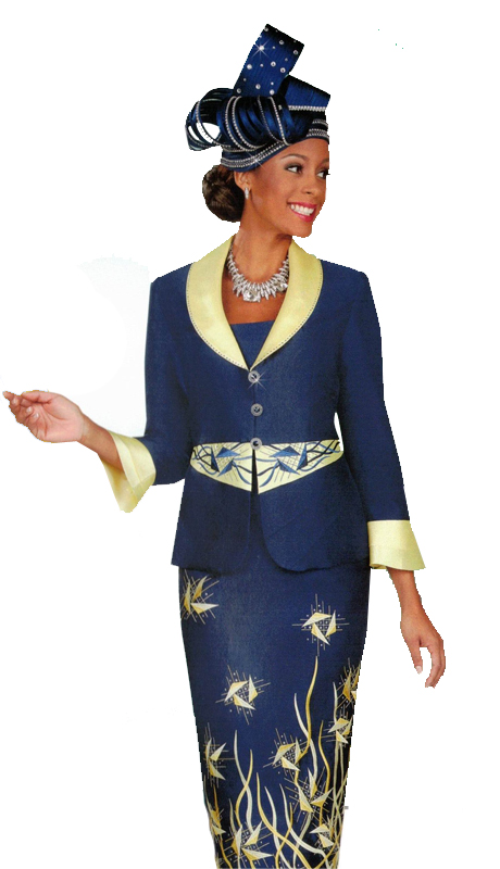 Ben Marc 47900 ( 2pc First Ladies Church Suit With Nature Inspired Design )