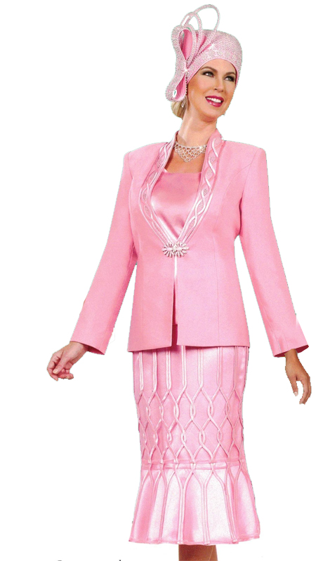 Ben Marc 48014 ( 3pc Womens Suit For Church With Patterned Stitched Skirt )
