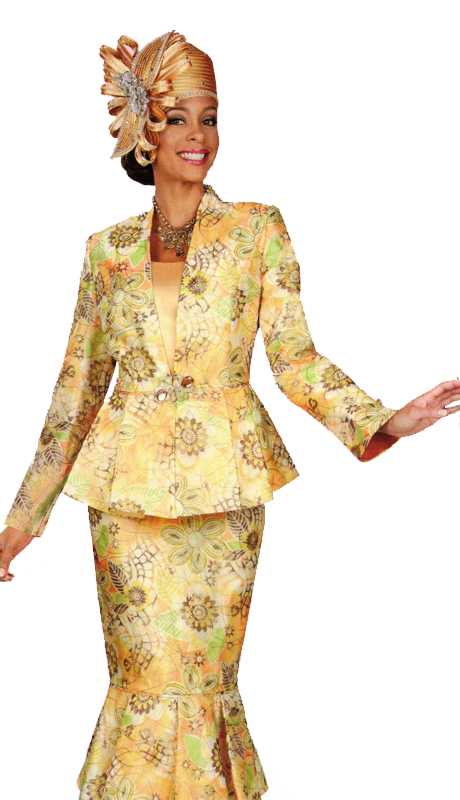 Ben Marc 47917 ( 3pc First Ladies Floral Print Jacket And Skirt With Contrasting Solid Top )