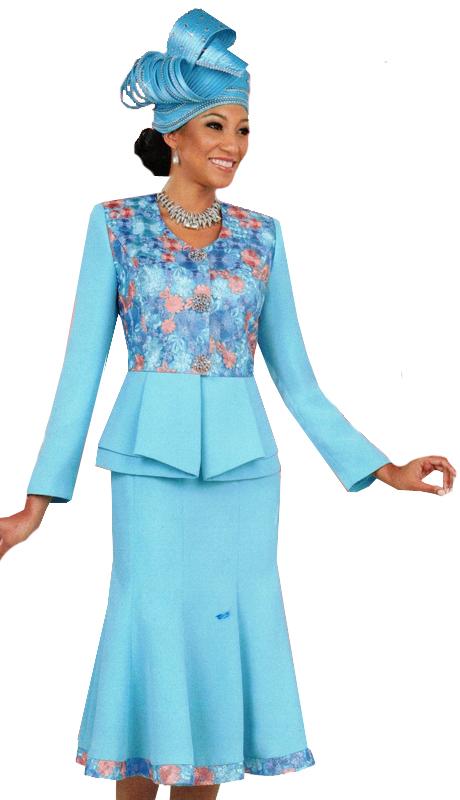 Ben Marc 47915 ( 2pc Ladies Church Suit With Elegant Floral Design )